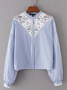 SheIn offers Lace Crochet Insert Striped Blouse & more to fit your fashionable needs. Blazer Jackets For Women, Coats For Women, Clothes For Women, Frocks For Girls, Rompers Women, Blouse Dress, Blouse Styles, Pull, Shirt Blouses