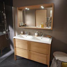 Meuble de salle de bains imitation chêne naturel Fjord | Leroy Merlin