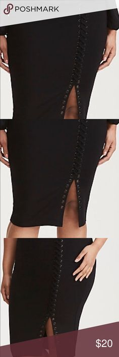 Laced Up Side Pencil Skirt The black ponte midi length style is cautioning curves ahead with a majority clingy construction. The grommet- detailed lace up side lets you flash a bit of leg😉. Size measures 27 1/2 from center front. Rayon/ Nylon and Spandex. Torrid Skirts