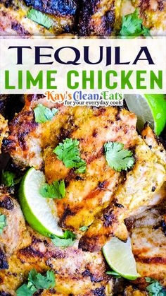 Tequila Lime Chicken Recipe, Lime Chicken Recipes, Margarita Chicken, Mexican Recipes With Chicken, Lime Recipes Dinner, Mexican Wings Recipe, Recipes With Cilantro, Mexican Bowl Recipe, Mexican Recipes