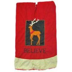 Believe Reindeer tree skirt at the Santa Claus Christmas Store.