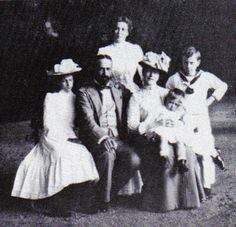 Princess Victoria of Hesse, Prince Louis of Battenberg and their four children Princess Alice of Battenberg, Louise, George and Louis. The Battenberg family changed their name to Mountbatten during WWI.