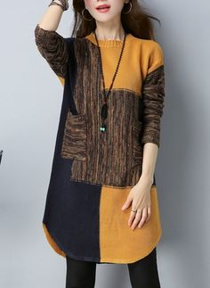 Tunic Yellow Day Dresses Polyester Casual Round Neckline Shift Dress Spring Summer Pockets S Color Block M Knee-Length L Sleeves XL XXL Dress Buy Dress, Knit Dress, Shift Dresses, Women's Dresses, Sophisticated Dress, Long Sleeve Sweater Dress, Black Cocktail Dress, Fashion Fabric, Mi Long