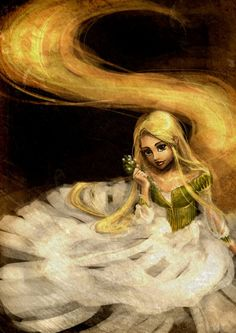 I always admire Rapunzel's story more than the other fairy tales, besides The Little Mermaid. Maybe because of the long golden hair and the unusual name. Rapunzel and her name Disney Rapunzel, Tangled Rapunzel, Princess Rapunzel, Disney Princesses, Tangled Flynn, Princess Art, Disney Fan Art, Disney Love, Disney Magic