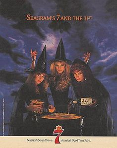 Witches Cauldron Stormy Night Moon Seagrams 7 AD 1989