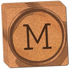 Custom  Cool 4 Inches Set Pack of 4 Square Grip Texture Drink Cup Coasters Made of Cork w Typewriter Style Font Monogram Letter M Alphabet Personal Design Colorful Brown  Black -- This is an Amazon Affiliate link. Want to know more, click on the image.