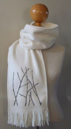 Hand Printed Branches on Fleece Scarf