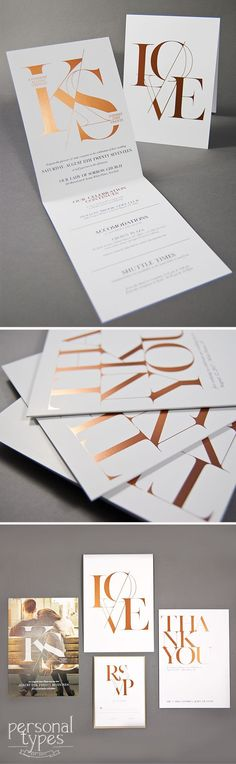 Modern Simple Type Rose Gold Foil Wedding Invitation https://www.etsy.com/shop/personaltypes?ref=l2-shopheader-name