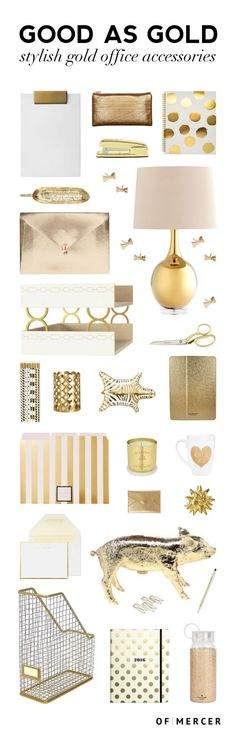 Good as Gold: Stylish Gold Office Accessories Gold Desk Accessories Gold Office Accessories, Home Decor Accessories, Desk Organization Diy, Diy Desk, Home Office Decor, Desk Office, Work Desk, Office Cubicles, Office Inspo