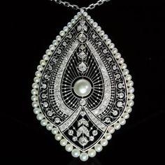 Edwardian platinum lace diamonds pearls by adinantiquejewellery, €14500.00