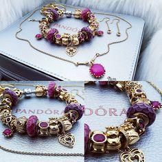 Pink&Purple. . #pandora #pandoragold #retiredpandora #dopandora #instadaily #jewelry #charms #beads #style #photooftheday #instacharms…
