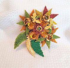 Stanley-Hagler-NYC-green-beaded-amber-rhinestone-brooch-large-flower-butterflies