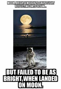 Because the vast majority of sunlight is reflected back towards the sun and the earth and smaller percentage is deflected laterally at an angle the astronaut and his camera are able to see. With less light deflected laterally, it would appear dimmer.