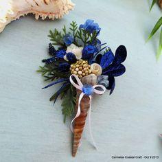 Coastal Christmas Shell magnet blue floral by CarmelasCoastalCraft, $6.75