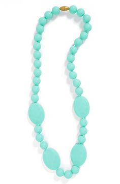 A baby-friendly necklace that doubles as a soft, flexible teether. #chewbeads