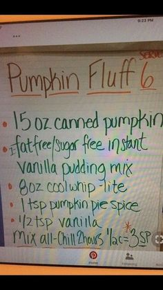 I'll use regular vanilla pudding, extra creamy cool whip and adjust the pumpkin pie spice to my taste. Fluff Desserts, Weight Watchers Desserts, Sugar Free Desserts, Low Carb Desserts, Fall Desserts, Just Desserts, Delicious Desserts, Healthier Desserts, Ww Recipes