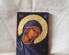 The figure of the Holy mother- Black Virgin Contemporary byzantine art of Greece