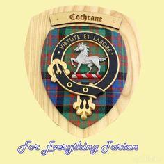 Clan Cochrane Tartan Woodcarver Wooden Wall Plaque Cochrane Crest 7 x 8