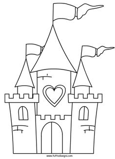 disegno-castello Castle Coloring Page, Colouring Pages, Coloring Sheets, Castle Drawing, Castle Painting, Disney Princess Coloring Pages, Disney Princess Colors, Drawing For Kids, Art For Kids