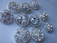 10 Pieces Assorted Round Crystal Clear Glass Rhinestone by zzlaca