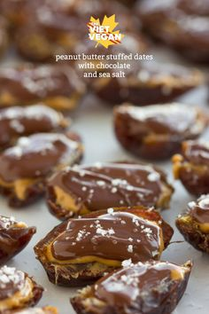 Vegan Peanut Butter Stuffed Dates with Chocolate and Sea Salt - The Viet Vegan Healthy Vegan Snacks, Vegan Treats, Healthy Desserts, Vegan Foods, Chocolate Sweets, Vegan Chocolate, Raw Desserts, Dessert Recipes, Candy Recipes