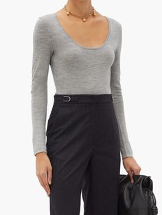 Gabriela Hearst Emily long-sleeved cashmere and silk bodysuit