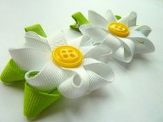 DAISY - CUSTOM COLOR - Set of 2 Flower Hair Bow Clips