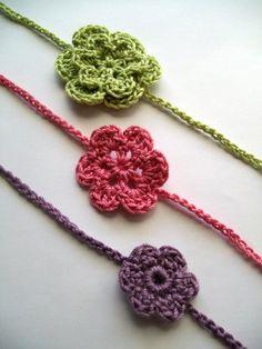 Dainty flower headband crochet pattern 3 different by LadybugLB2