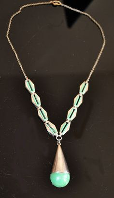 1930s Jakob BENGEL Silver Chome Machine Age Art Deco mint green enamel necklace