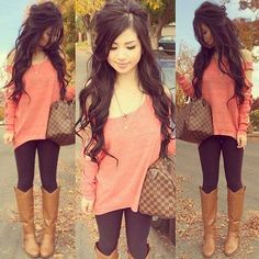 Coral top, brown leggings, brown boots, cute bag. Soft curls hair