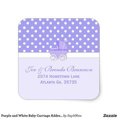 Purple and White Baby Carriage Address Stickers