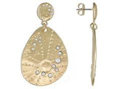 Off Park Collection, Round White Crystal Gold Tone Textured Dangle Earrings