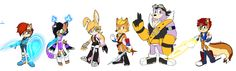Freedom Fighters in Sonic Boom, sonic redesign. sally acorn, elias acorn, rotor the walrus, antoine d'coolette, bunnie the rabbot, nicole the holo-lynx