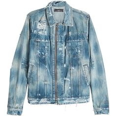 Amiri Distressed Denim Jacket ($1,769) ❤ liked on Polyvore featuring men's fashion, men's clothing, men's outerwear, men's jackets, blue, mens distressed denim jacket, mens zip up jackets, mens vintage jackets and mens blue jacket