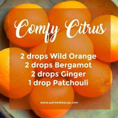 Comfy Citrus Diffuser Blend | Fall essential oil diffuser blend | wild orange, bergamot, ginger and patchouli essential oils