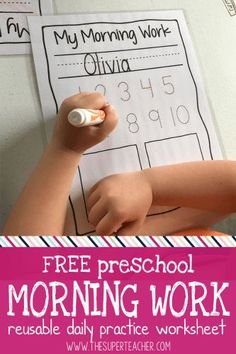Preschool is one of my favorite ages. I love thatwe do our best work by playing all day! But I also want to do my best to prepare my kids for the big beyond: KINDERGARTEN. That means learning to do seat work (in small doses), hold a writing utensil, and recognize our names. So my solution is this awesome free preschool morning work worksheet!