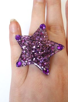 Purple Glitter Star Ring with Rhinestones by ToxicInjection, $4.00