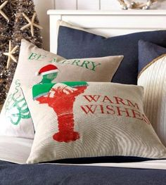 I love the selection of coastal and nautical Christmas pillows available at all the Completely Coastal partner stores. Seaside Home Decor, Beach Cottage Decor, Home Decor Shops, Coastal Decor, Coastal Living, Outdoor Throw Pillows, Decorative Throw Pillows, Nautical Christmas, Christmas Pillow