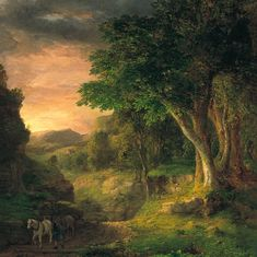 """George Inness (1825-1894) was an influential American landscape painter.  His work was influenced, in turn, by that of the old masters, the Hudson River school, the Barbizon school, and, finally, by the theology of Emanuel Swedenborg, whose spiritualism found vivid expression in the work of Inness' maturity. Inness is best known for mature works that not only exemplified the Tonalist movement but also displayed an original and uniquely American style. (Wikipedia) (""""The Berkshires"""" by George…"""
