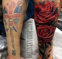 Rose cover up tattoo by Matt Jordan - One more way of making sure a tattoo is perfectly covered up is to follow its shape. It may not be easy especially when it's tribal or abstract designs. But with this one, it's rather easy to choose roses since it's rather round in the top and the stem is smaller which is perfect to cover a guitar tattoo.