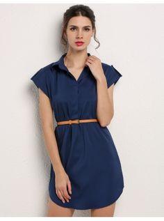 Cap manga camisa Casual de gasa elástica Mini vestido de la mujer con cinturón