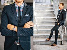 Navy suit and plaid shirt with a classic leather laced shoe