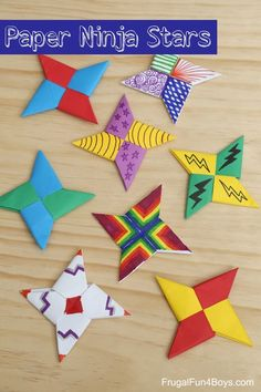 How to Fold Paper Ninja Stars - Fun craft or boredom buster for kids! Use colored paper or decorate with markers. Or both!