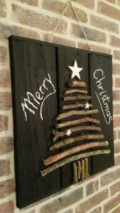 ge-WOON-leuk, houten bord met kerstboom van takken