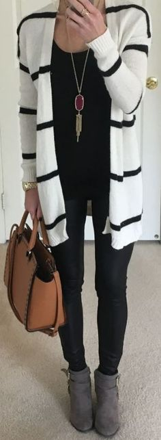 c9b428522a0f6 cool This is such a cute outfit with black leggings!... White Leggings
