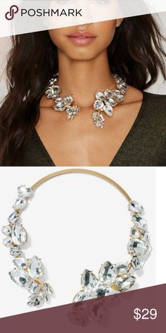 Nasty Gal Lia Jewel Collar Necklace The Lia Necklace features a gold metal band with clear teardrop crystals and easy slip - on design. Perfect statement piece for dressing up and holiday look.   - Nickel free synthetic materials Nasty Gal Jewelry Necklaces