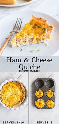 Ham and cheese quiche recipe that is so simple to make! It uses store-bought pie crust, and comes together quickly. A great use for leftover ham, too! Ham And Cheese Casserole, Ham And Cheese Quiche, Spring Recipes, Holiday Recipes, Holiday Meals, Easy Quiche, Leftover Ham, What's For Breakfast, Cooking For Two