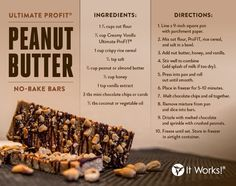 It Works Ultimate Profit powders are NOT just for smoothies. There are lots of other things you can do with both the It Works Ultimate Profit rich chocolate and creamy vanilla… Try this great peanut butter no bake bar recipe Protein Shakes, Protein Shake Recipes, Best Protein, Protein Foods, Protein Blend, Protein Bars, Healthy Protein, High Protein, Profit Recipes