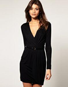 belted black wrap dress.