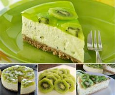 Bake Kiwi Fruit Cheesecake Kiwi No Bake Fruit Cheesecake!Kiwi No Bake Fruit Cheesecake! Kiwi Dessert, Dessert Aux Fruits, Delicious Desserts, Just Desserts, Dessert Recipes, Yummy Food, Kiwi Fruit Recipes, Fruit Food, Red Fruit